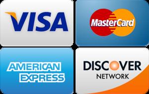 We accept Visa, MC, Amex, Discover